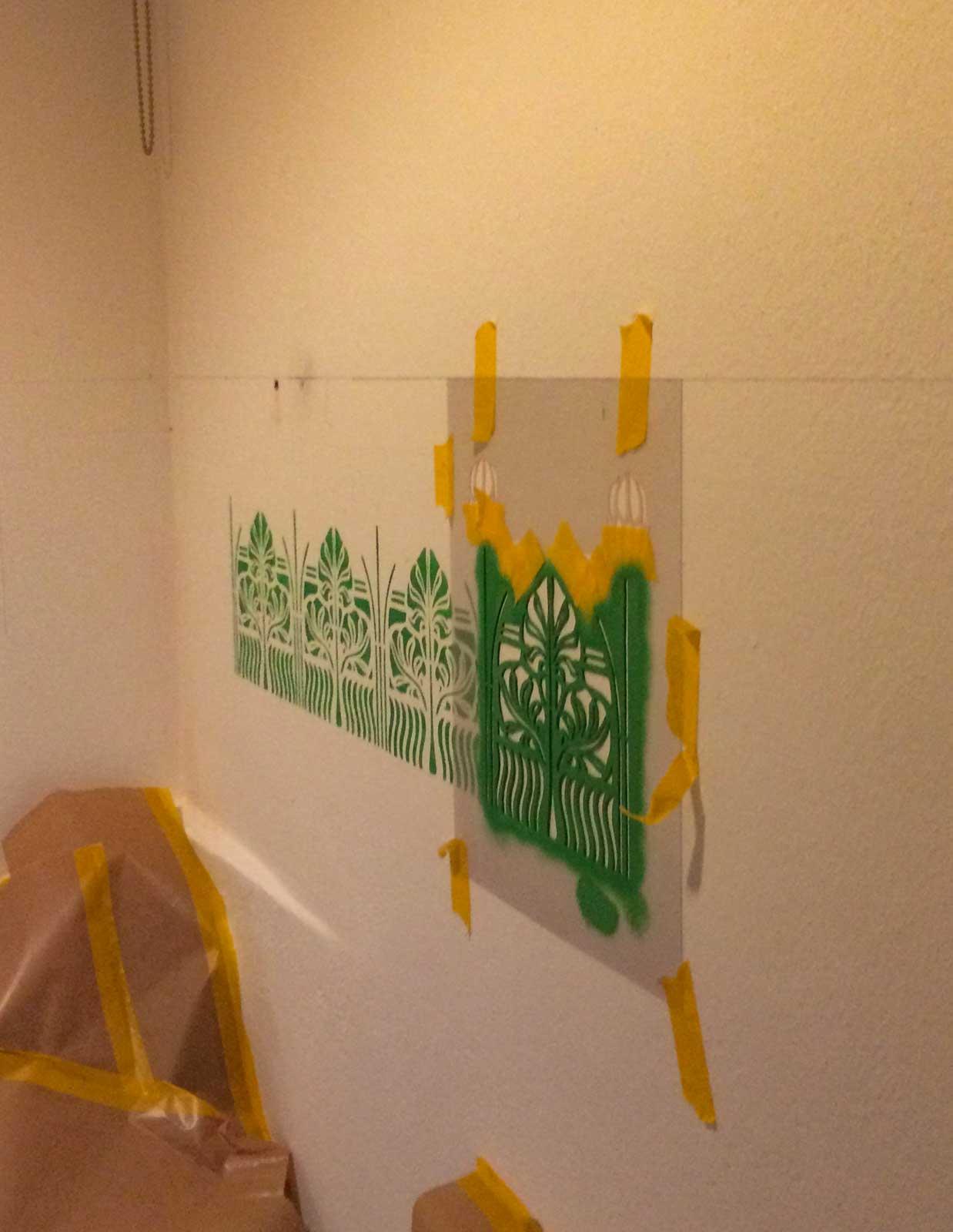 Badezimmer Sanierung, Borte mit Schablone erstellt